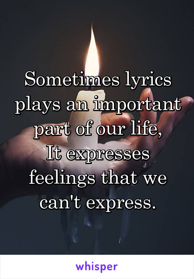 Sometimes lyrics plays an important part of our life, It expresses feelings that we can't express.