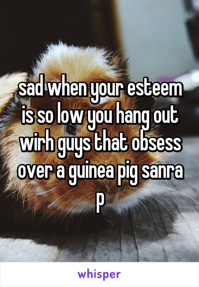sad when your esteem is so low you hang out wirh guys that obsess over a guinea pig sanra p