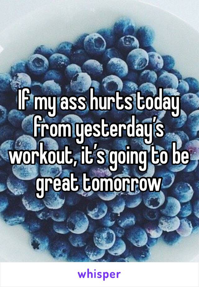 If my ass hurts today from yesterday's workout, it's going to be great tomorrow