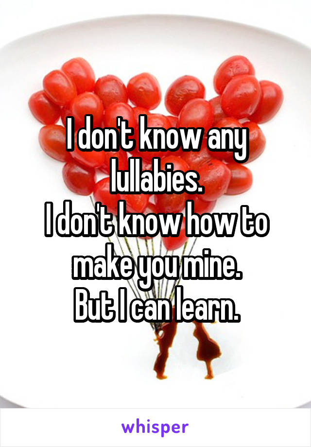 I don't know any lullabies. I don't know how to make you mine. But I can learn.