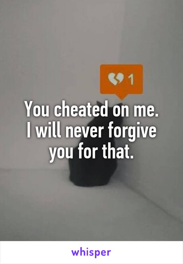 You cheated on me. I will never forgive you for that.