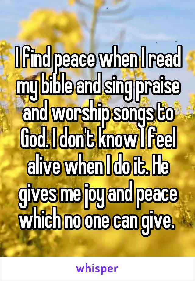 I find peace when I read my bible and sing praise and worship songs to God. I don't know I feel alive when I do it. He gives me joy and peace which no one can give.