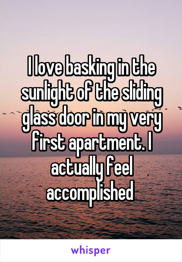 I love basking in the sunlight of the sliding glass door in my very first apartment. I actually feel accomplished