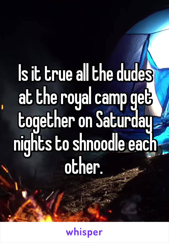 Is it true all the dudes at the royal camp get together on Saturday nights to shnoodle each other.