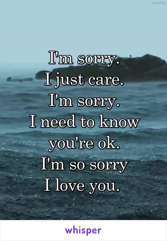 I'm sorry. I just care. I'm sorry. I need to know you're ok. I'm so sorry I love you.