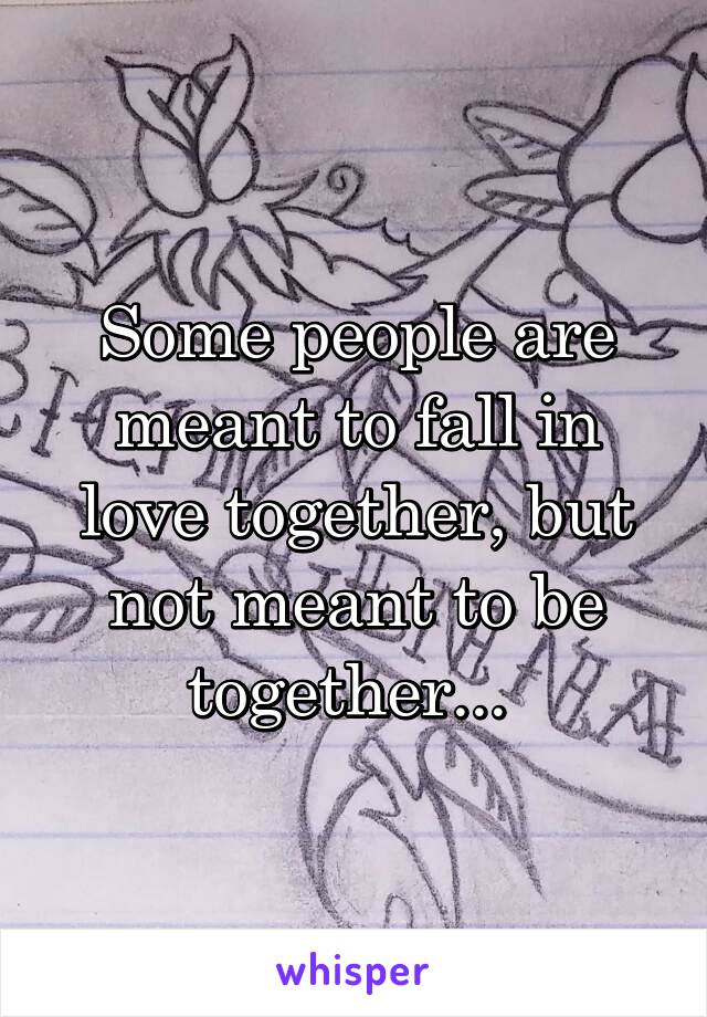 Some people are meant to fall in love together, but not meant to be together...