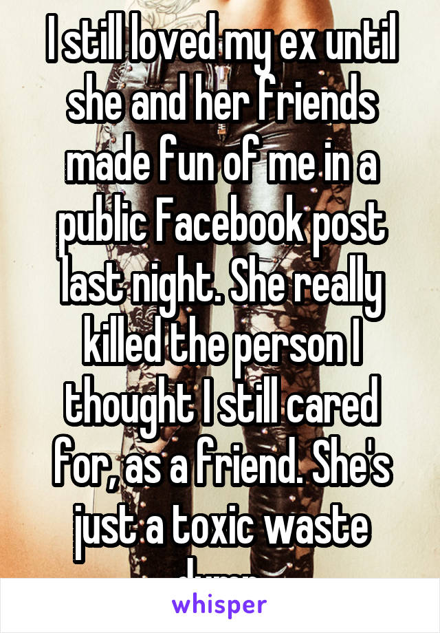 I still loved my ex until she and her friends made fun of me in a public Facebook post last night. She really killed the person I thought I still cared for, as a friend. She's just a toxic waste dump.