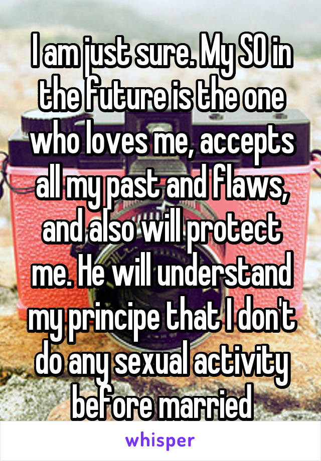 I am just sure. My SO in the future is the one who loves me, accepts all my past and flaws, and also will protect me. He will understand my principe that I don't do any sexual activity before married
