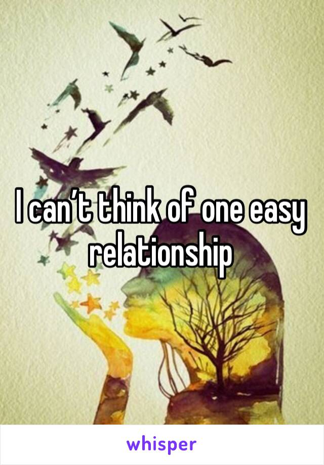 I can't think of one easy relationship