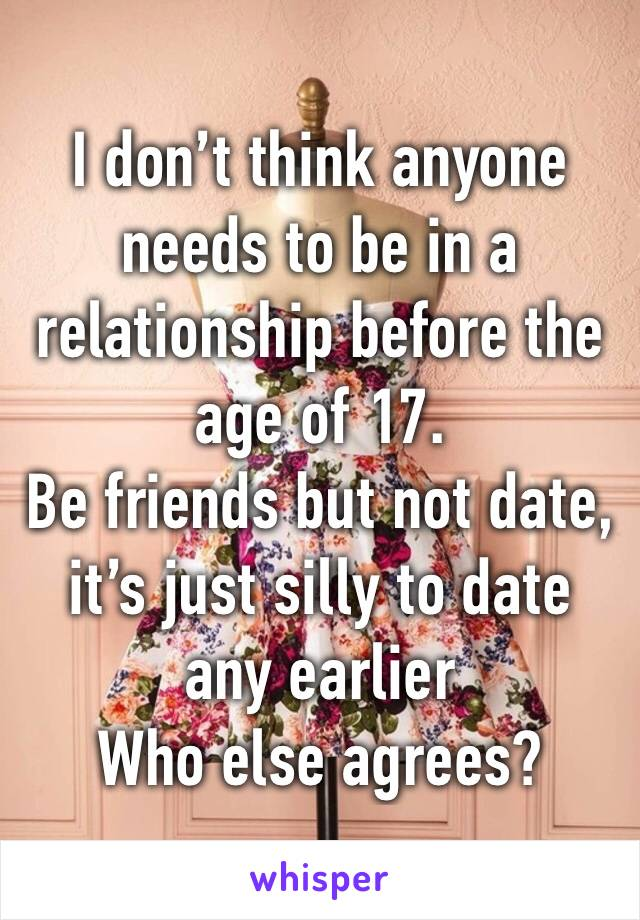 I don't think anyone needs to be in a relationship before the age of 17. Be friends but not date, it's just silly to date any earlier Who else agrees?
