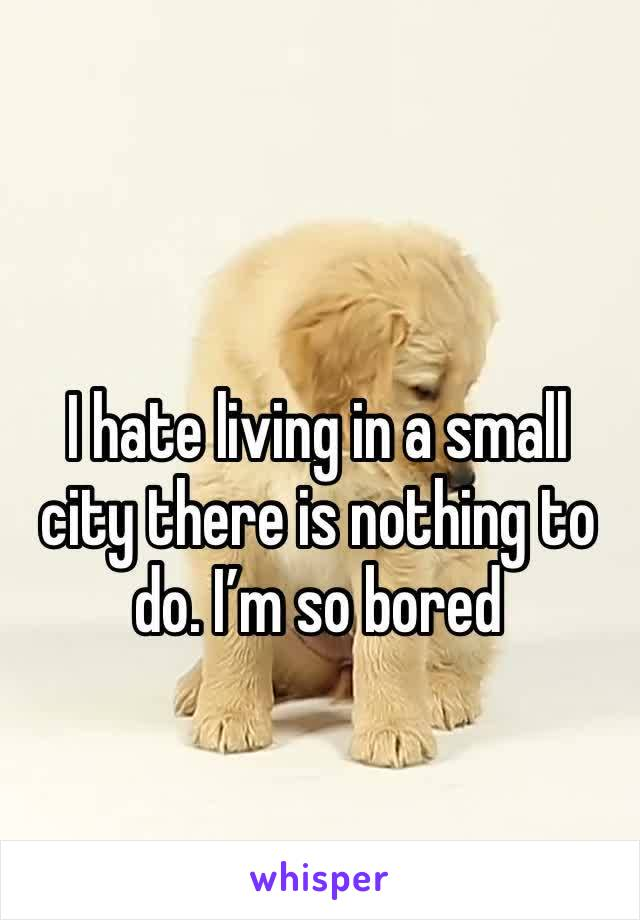 I hate living in a small city there is nothing to do. I'm so bored