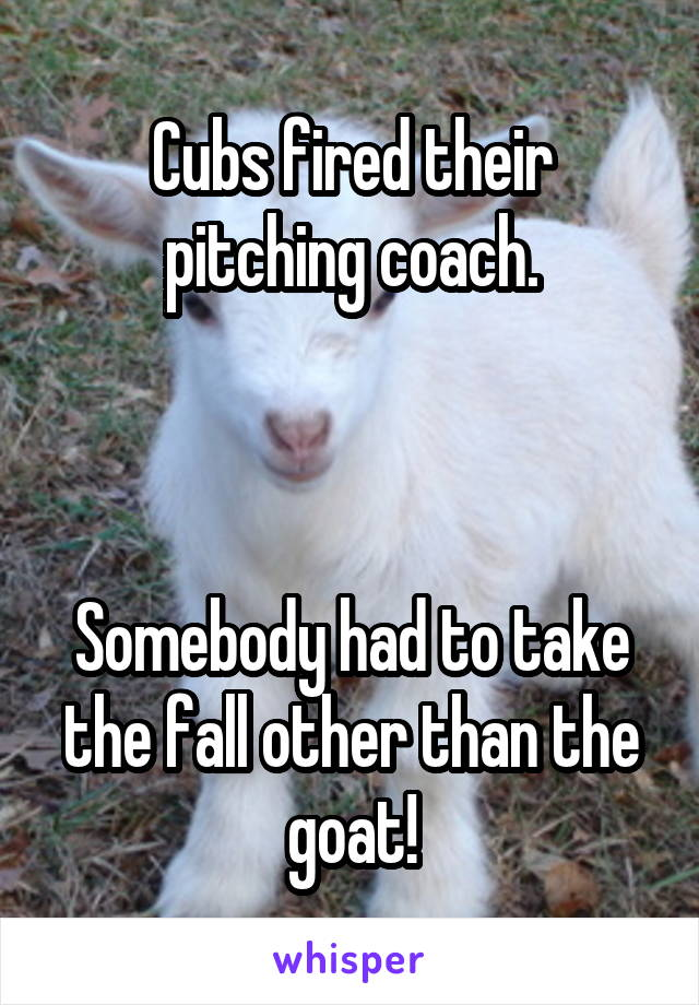 Cubs fired their pitching coach.    Somebody had to take the fall other than the goat!