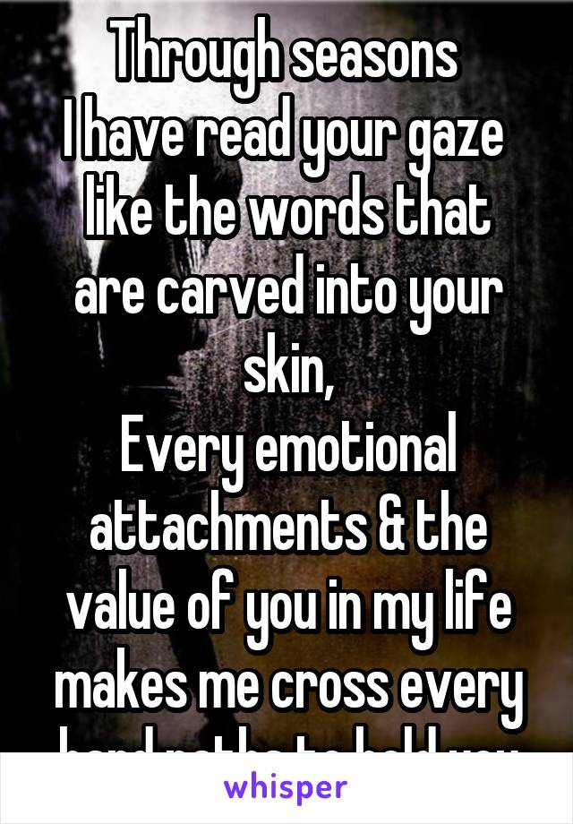 Through seasons  I have read your gaze  like the words that are carved into your skin, Every emotional attachments & the value of you in my life makes me cross every hard paths to hold you
