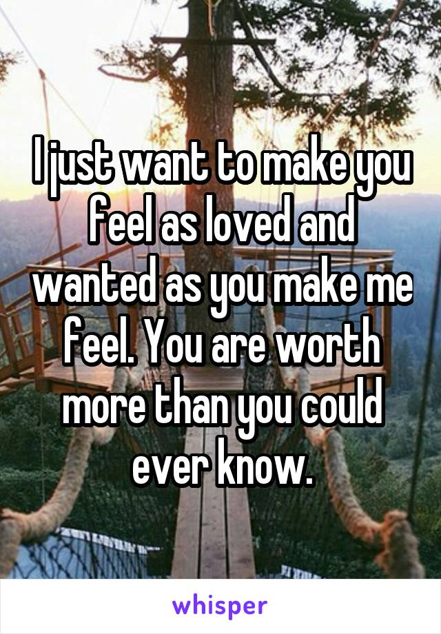 I just want to make you feel as loved and wanted as you make me feel. You are worth more than you could ever know.