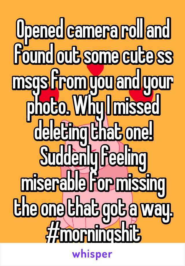 Opened camera roll and found out some cute ss msgs from you and your photo. Why I missed deleting that one! Suddenly feeling miserable for missing the one that got a way. #morningshit