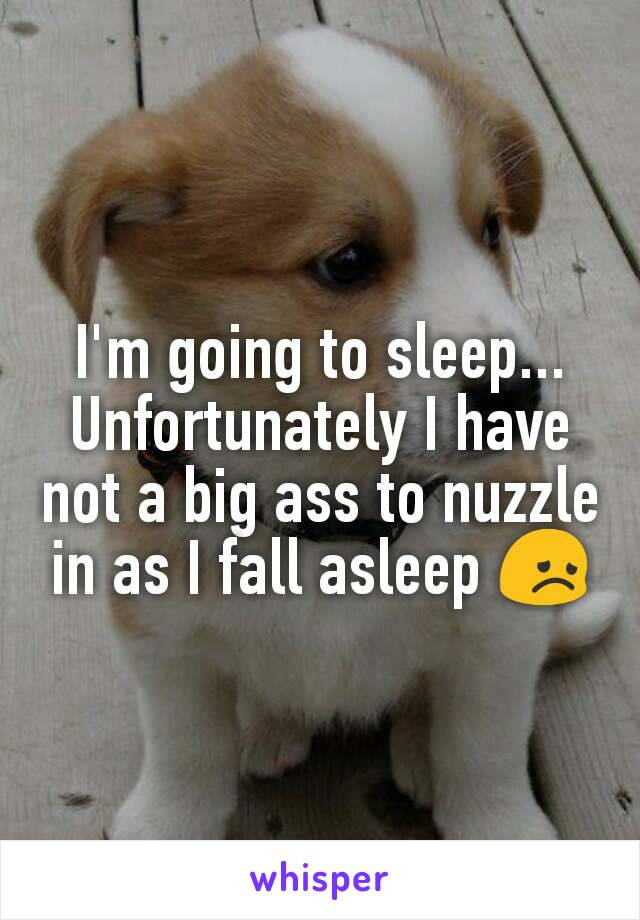 I'm going to sleep... Unfortunately I have not a big ass to nuzzle in as I fall asleep 😞