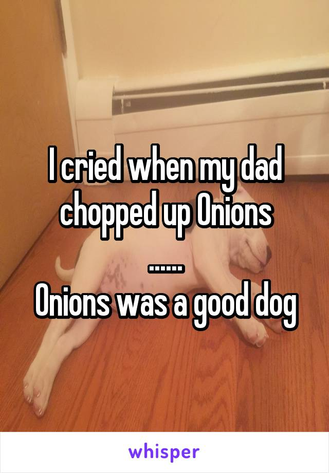 I cried when my dad chopped up Onions ...... Onions was a good dog