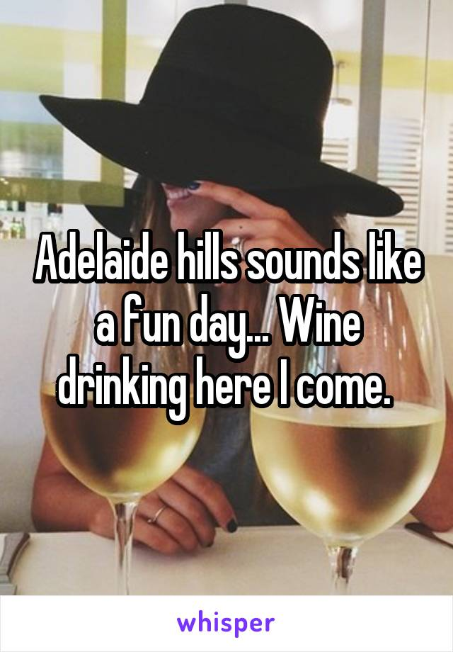 Adelaide hills sounds like a fun day... Wine drinking here I come.