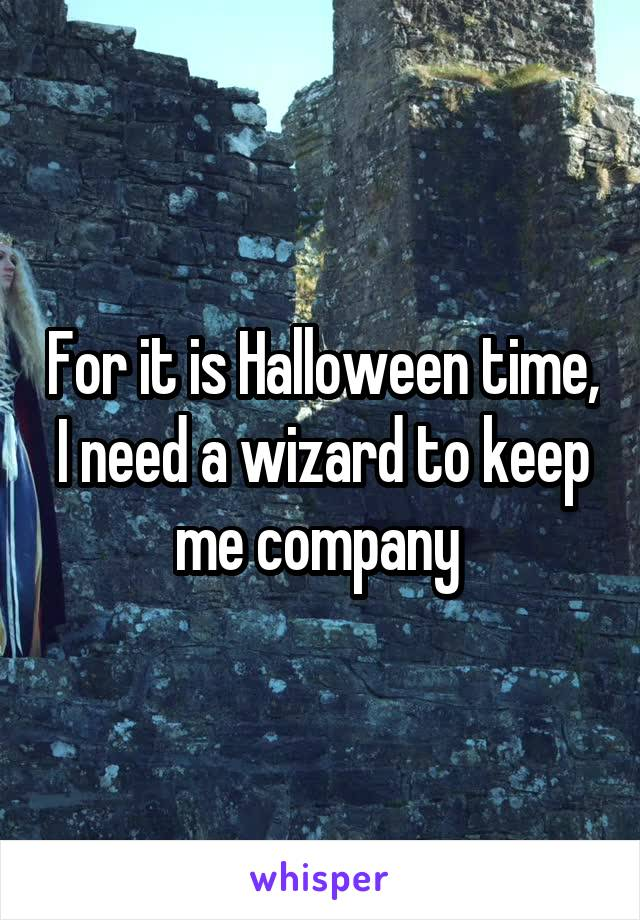 For it is Halloween time, I need a wizard to keep me company