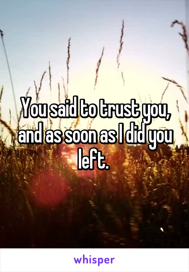 You said to trust you, and as soon as I did you left.