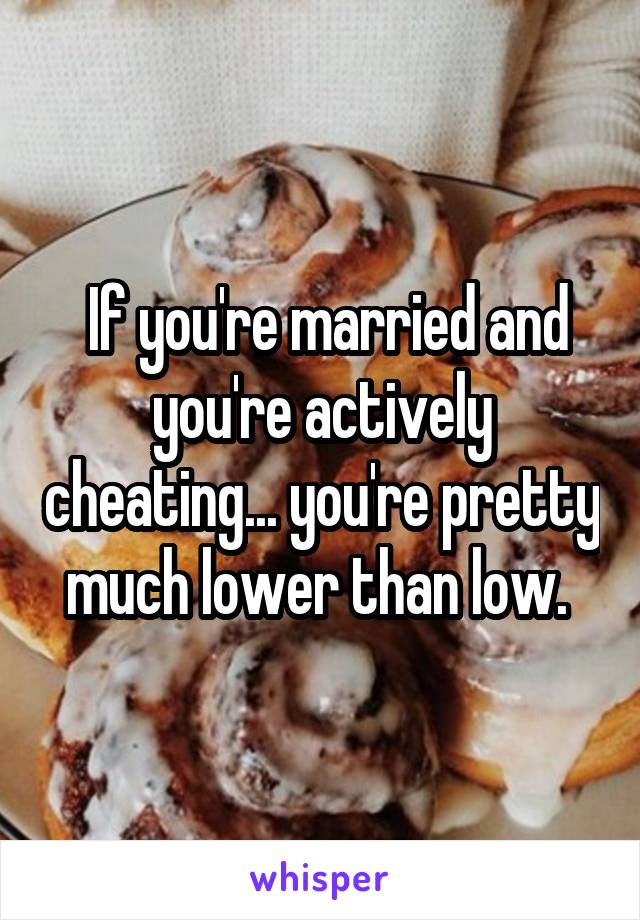 If you're married and you're actively cheating... you're pretty much lower than low.