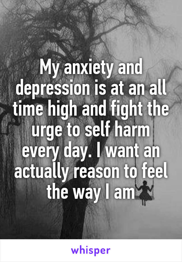 My anxiety and depression is at an all time high and fight the urge to self harm every day. I want an actually reason to feel the way I am