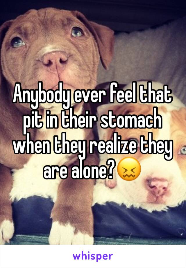 Anybody ever feel that pit in their stomach when they realize they are alone?😖