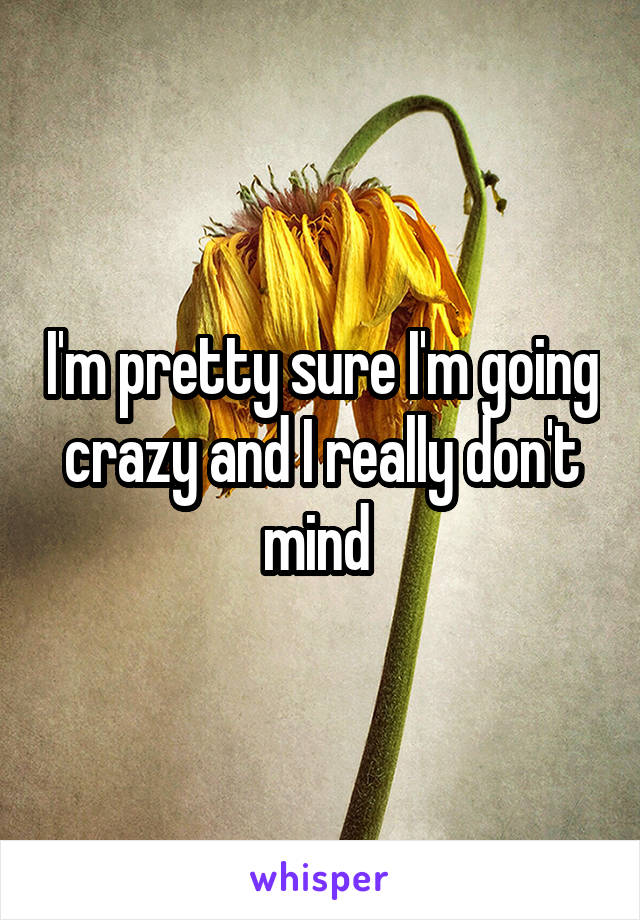 I'm pretty sure I'm going crazy and I really don't mind