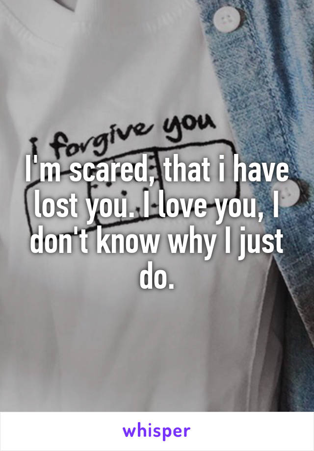 I'm scared, that i have lost you. I love you, I don't know why I just do.