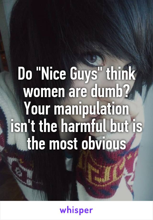 """Do """"Nice Guys"""" think women are dumb? Your manipulation isn't the harmful but is the most obvious"""