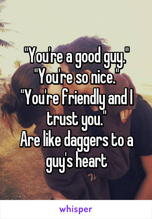 """""""You're a good guy."""" """"You're so nice."""" """"You're friendly and I trust you."""" Are like daggers to a guy's heart"""