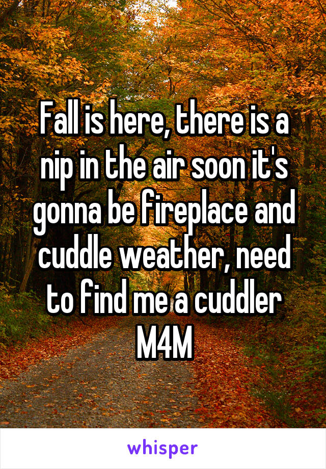 Fall is here, there is a nip in the air soon it's gonna be fireplace and cuddle weather, need to find me a cuddler M4M