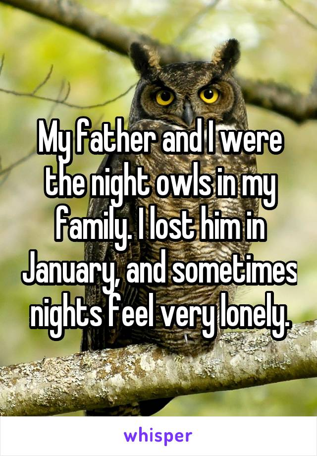 My father and I were the night owls in my family. I lost him in January, and sometimes nights feel very lonely.