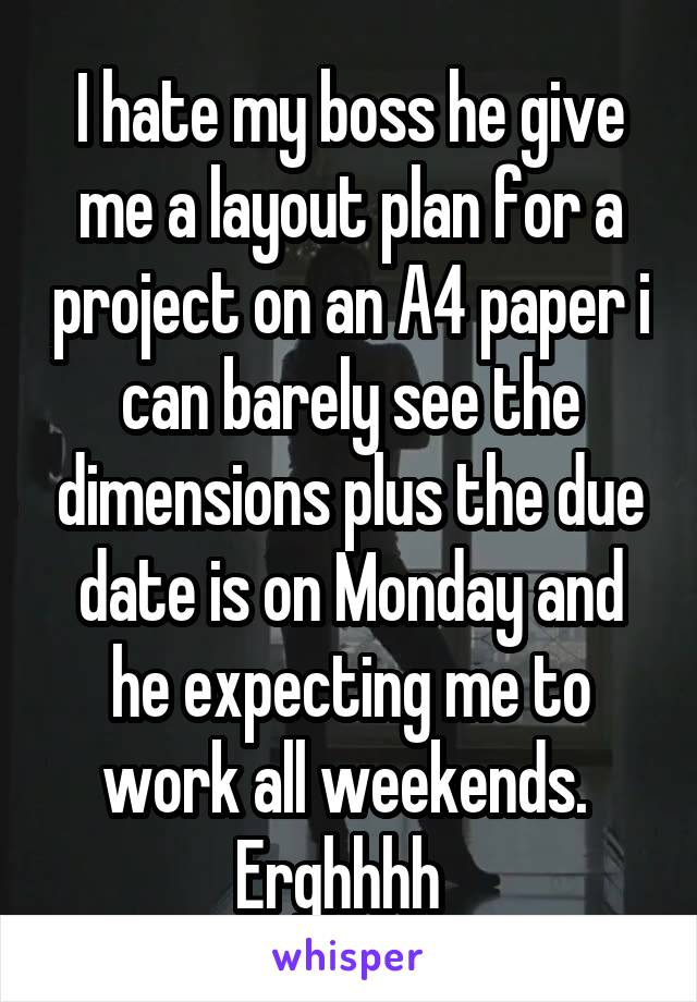 I hate my boss he give me a layout plan for a project on an A4 paper i can barely see the dimensions plus the due date is on Monday and he expecting me to work all weekends.  Erghhhh