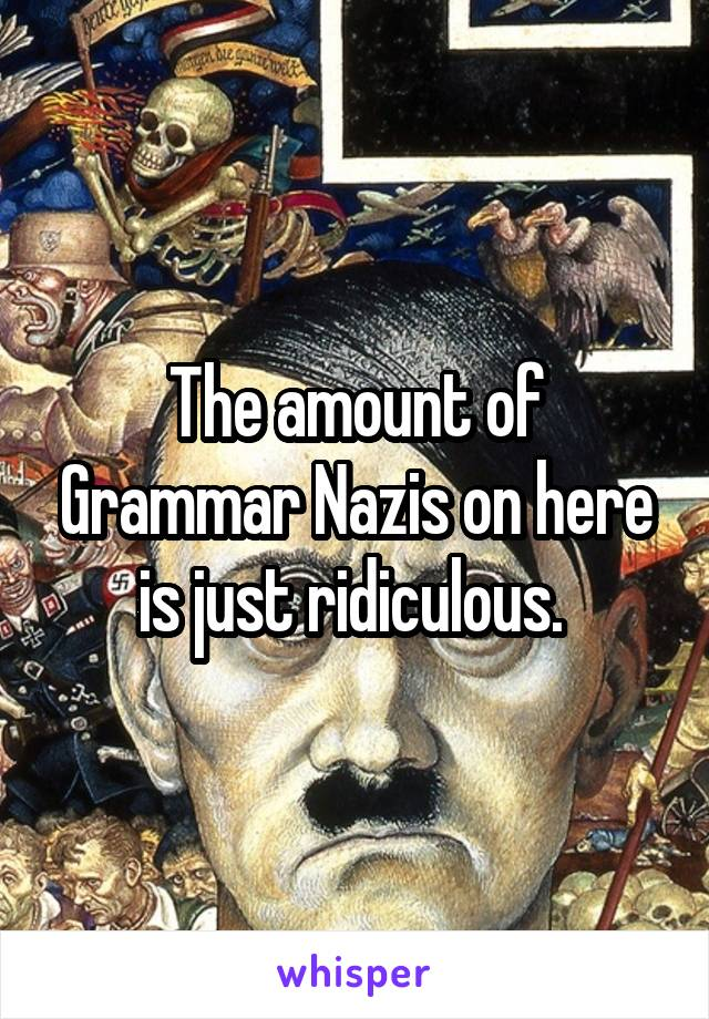 The amount of Grammar Nazis on here is just ridiculous.