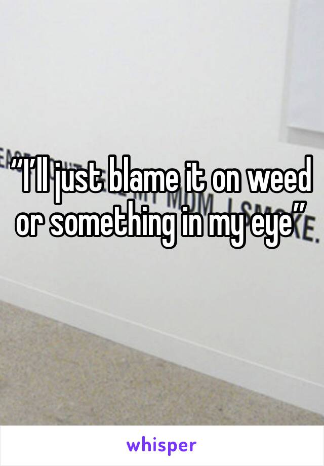 """I'll just blame it on weed or something in my eye"""