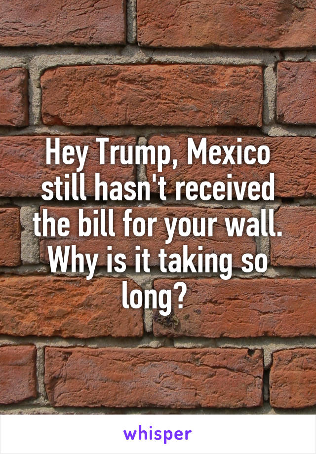 Hey Trump, Mexico still hasn't received the bill for your wall. Why is it taking so long?
