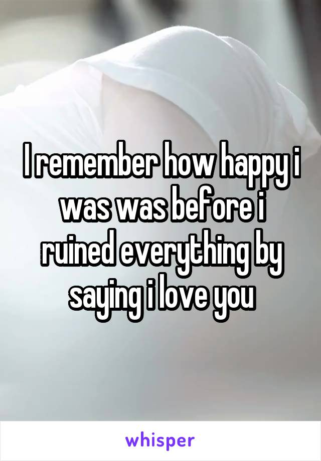 I remember how happy i was was before i ruined everything by saying i love you