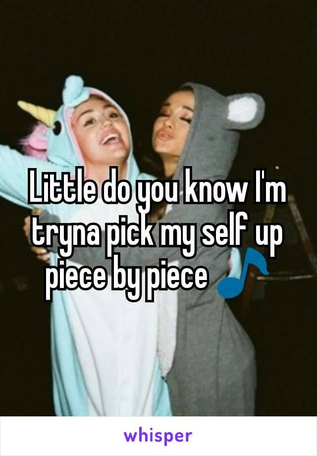 Little do you know I'm tryna pick my self up piece by piece 🎵