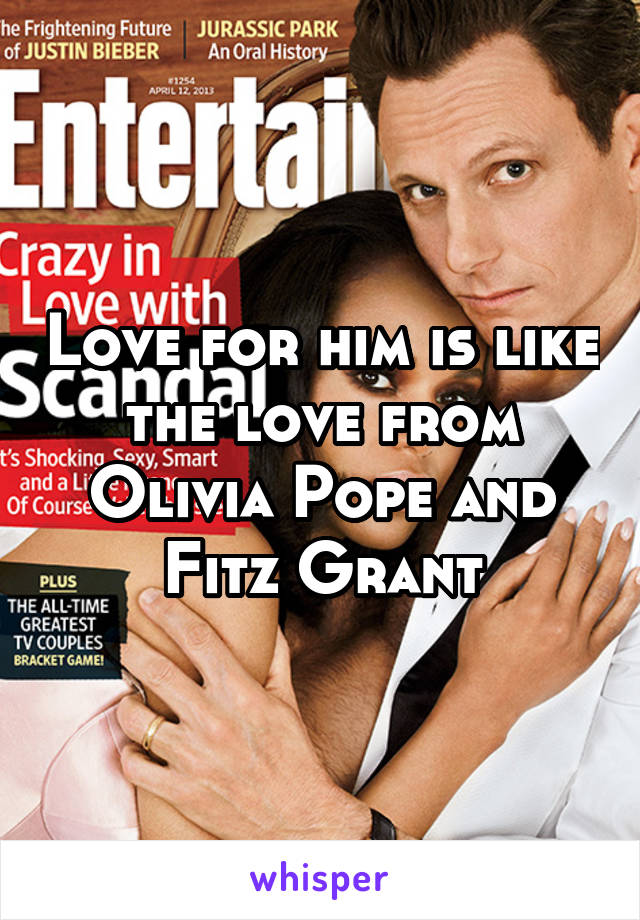 Love for him is like the love from Olivia Pope and Fitz Grant