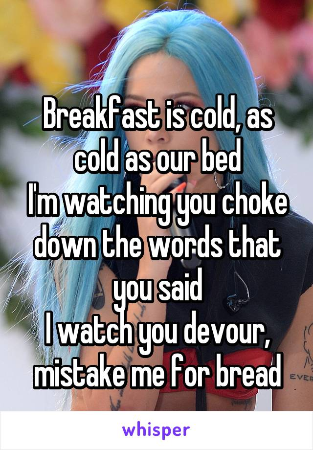 Breakfast is cold, as cold as our bed I'm watching you choke down the words that you said I watch you devour, mistake me for bread