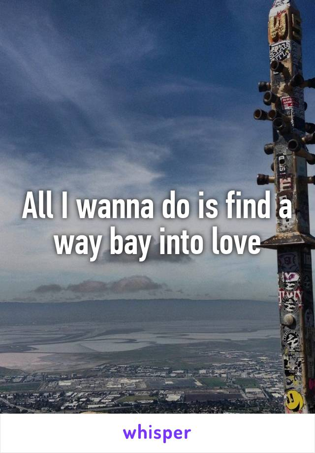 All I wanna do is find a way bay into love