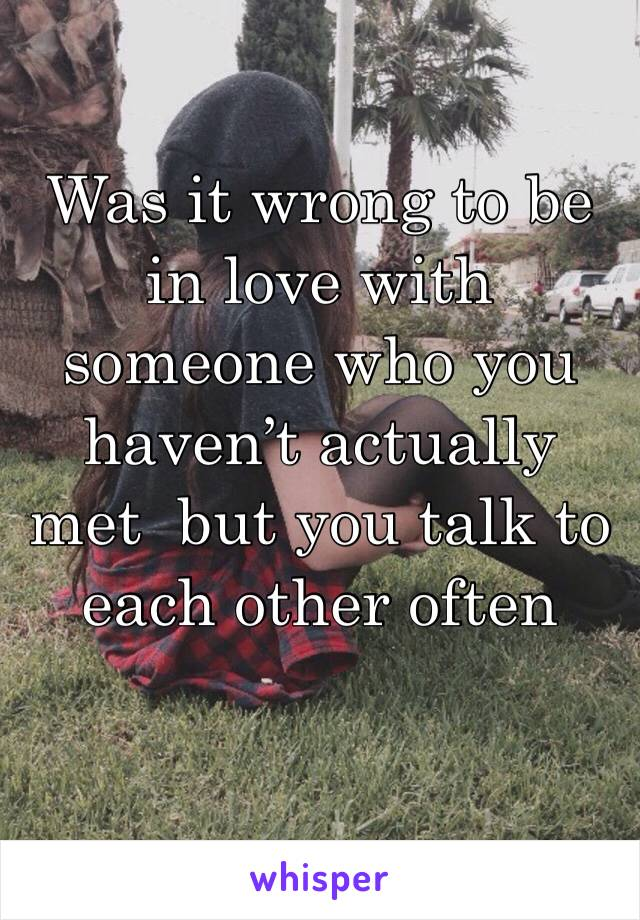 Was it wrong to be in love with someone who you haven't actually met  but you talk to each other often