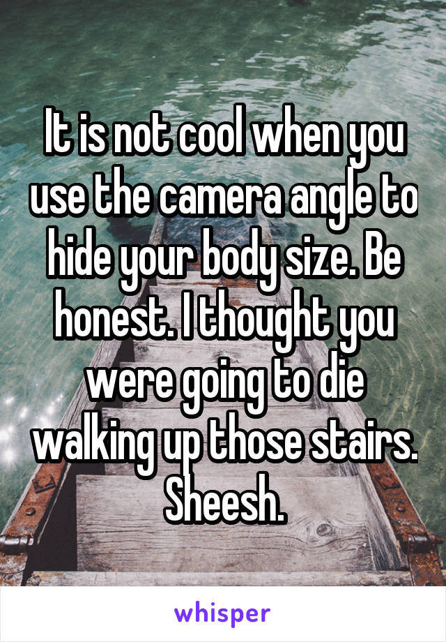 It is not cool when you use the camera angle to hide your body size. Be honest. I thought you were going to die walking up those stairs. Sheesh.