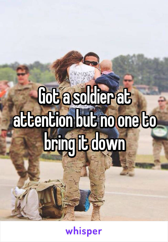 Got a soldier at attention but no one to bring it down