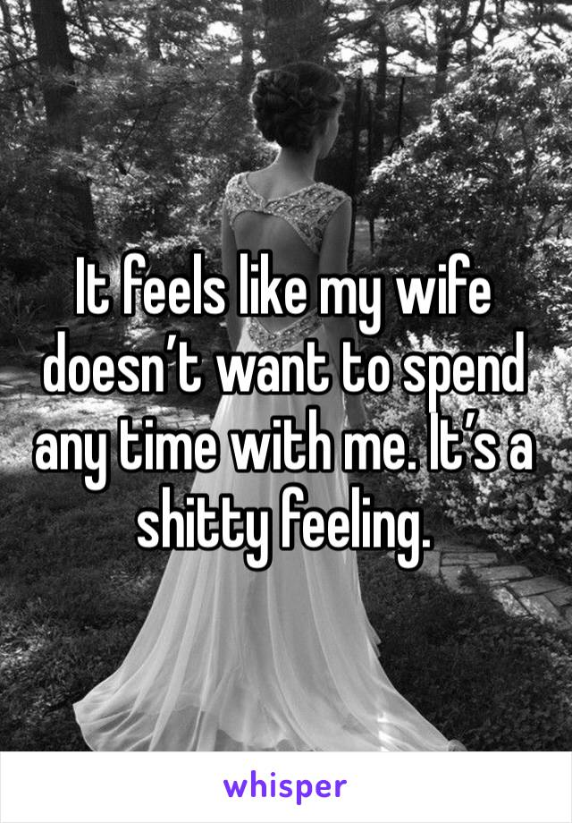 It feels like my wife doesn't want to spend any time with me. It's a shitty feeling.