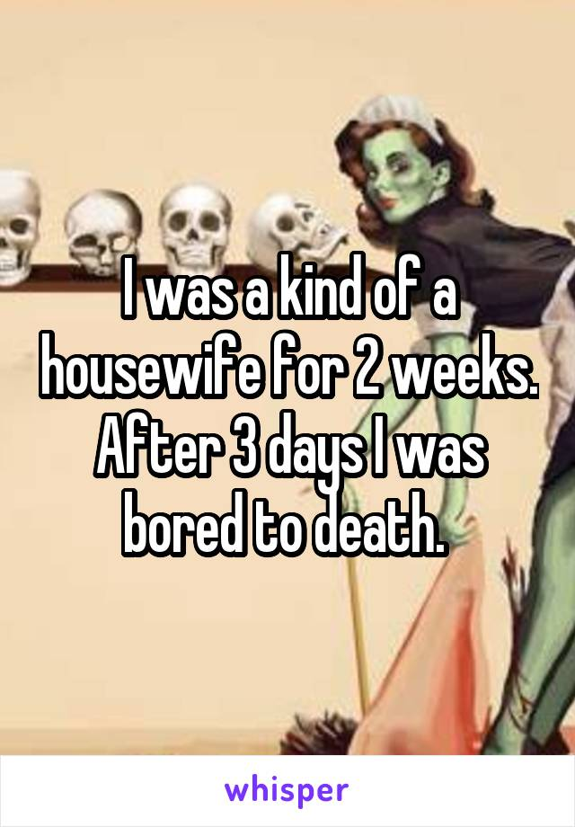 I was a kind of a housewife for 2 weeks. After 3 days I was bored to death.