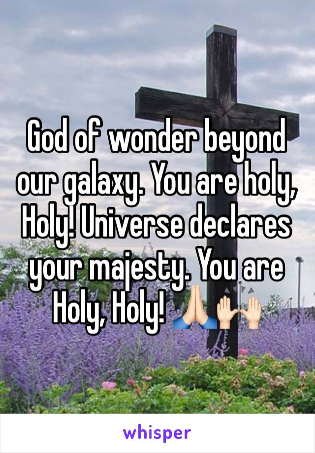 God of wonder beyond our galaxy. You are holy, Holy! Universe declares your majesty. You are Holy, Holy! 🙏🏻🙌🏻