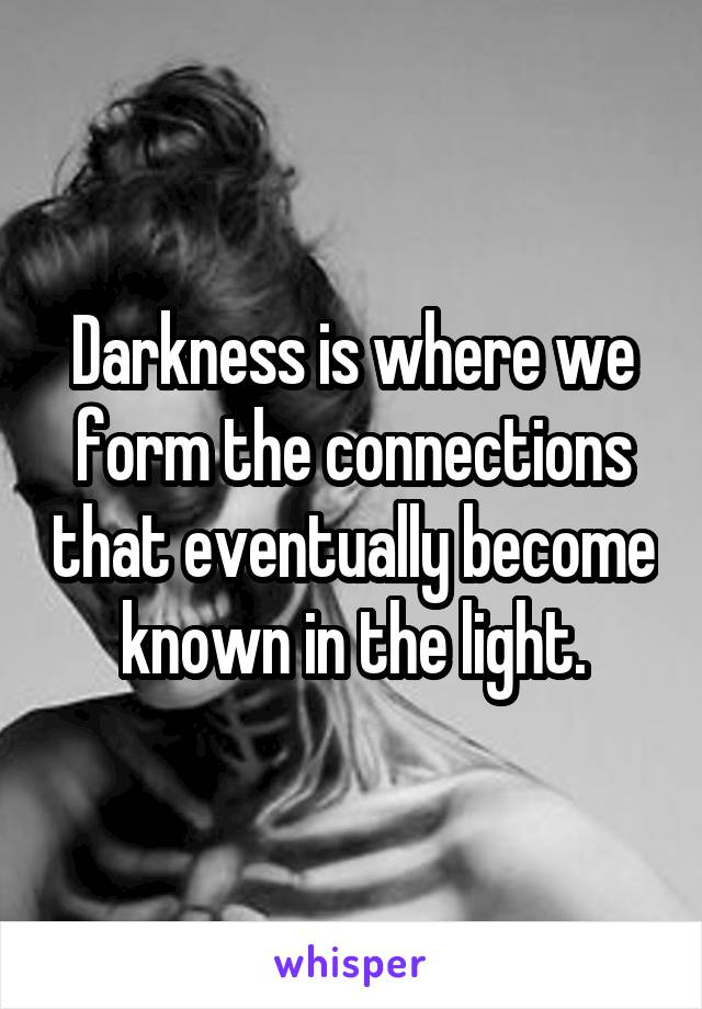 Darkness is where we form the connections that eventually become known in the light.