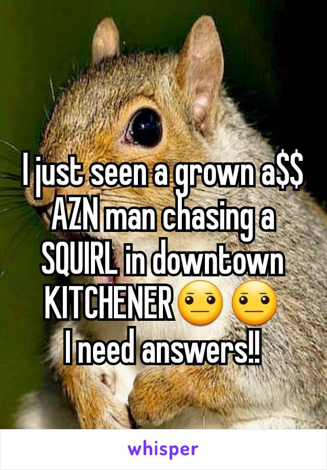 I just seen a grown a$$ AZN man chasing a SQUIRL in downtown KITCHENER😐😐 I need answers!!
